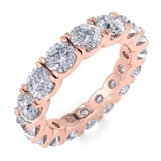 4 1/4 Carat Diamond Eternity Ring In 14 Karat Rose Gold, Ring Size 8.5