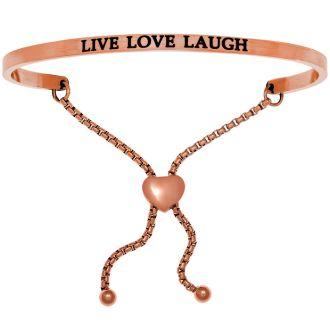 """Rose Gold """"LIVE LOVE LAUGH"""" Adjustable Bracelet"""