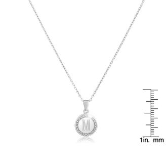 M Initial Diamond Necklace In Sterling Silver, 18 Inches