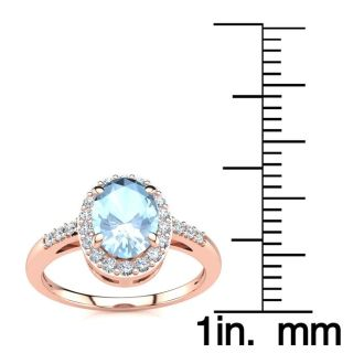 1 Carat Oval Shape Aquamarine and Halo Diamond Ring In 14K Rose Gold