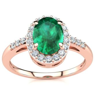 1 Carat Oval Shape Emerald and Halo Diamond Ring In 14K Rose Gold