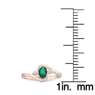 1/2ct Emerald and Diamond Ring In 14K Rose Gold
