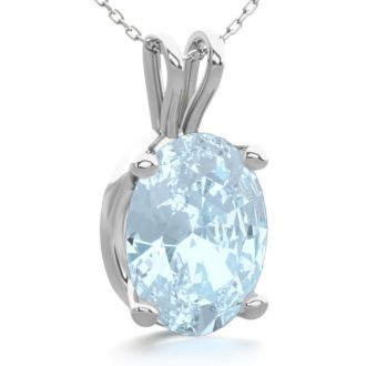 1 Carat Oval Shape Aquamarine Necklace In Sterling Silver, 18 Inches