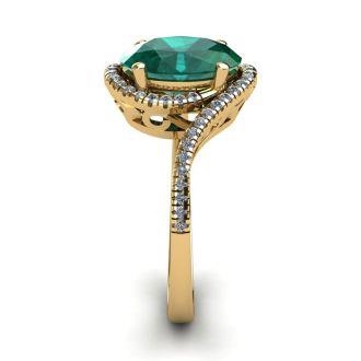 1 Carat Oval Shape Emerald and Halo Diamond Ring In 14 Karat Yellow Gold