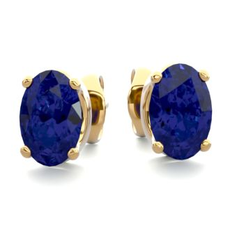 1 Carat Oval Shape Sapphire Stud Earrings In Yellow Gold Over Sterling Silver. Sapphire Is The #1 Most Popular Gemstone!