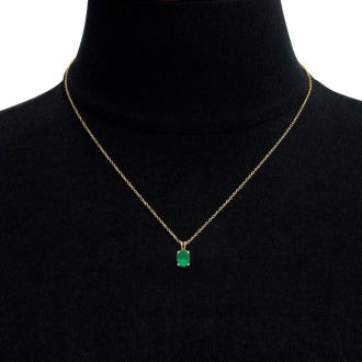 1/2 Carat Oval Shape Emerald Necklace In 14K Yellow Gold Over Sterling Silver, 18 Inches