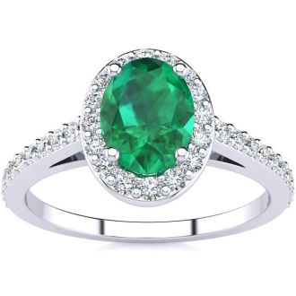 1 Carat Oval Shape Emerald and Halo Diamond Ring In 14 Karat White Gold
