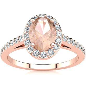1 Carat Oval Shape Morganite and Halo Diamond Ring In 14 Karat Rose Gold