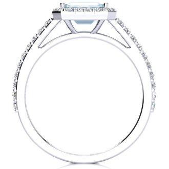 1 1/4 Carat Aquamarine and Halo Diamond Ring In 14 Karat White Gold