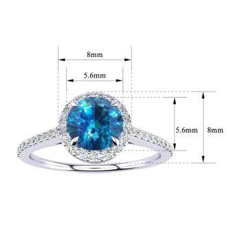 1 Carat Blue Diamond Halo Engagement Ring in 14k White Gold