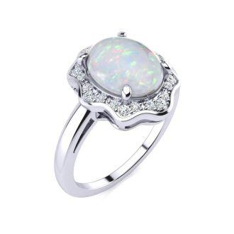 1.66 Carat Opal and Halo Diamond Ring In 14 Karat White Gold