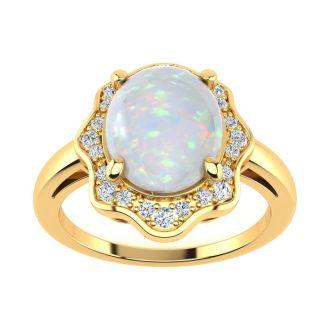 1.66 Carat Opal and Halo Diamond Ring In 14 Karat Yellow Gold