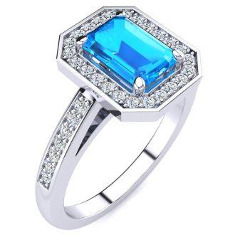 1 1/2 Carat Blue Topaz and Halo Diamond Ring In 14 Karat White Gold