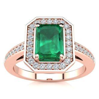 1 Carat Emerald and Halo Diamond Ring In 14 Karat Rose Gold