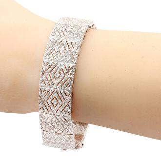 2 Carat Diamond Art Deco Bracelet, 7 Inches, Incredible Wide Amazing Diamond Bracelet! Very Beautiful In Person, You Won't Believe It!