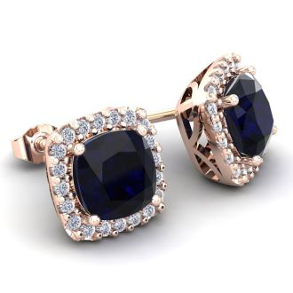 4 Carat Cushion Cut Sapphire and Halo Diamond Stud Earrings In 14 Karat Rose Gold