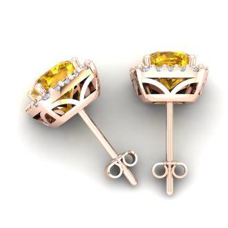4 3/4 Carat Cushion Cut Citrine and Halo Diamond Stud Earrings In 14 Karat Rose Gold