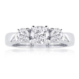 1/2ct Engagment Three Diamond Ring in 14k White Gold