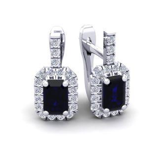 2 Carat Sapphire and Halo Diamond Dangle Earrings In 14 Karat White Gold