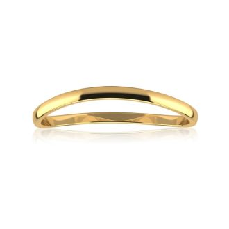 Solid Yellow Gold 1.5MM Comfort Fit Curved Wave Thumb Ring