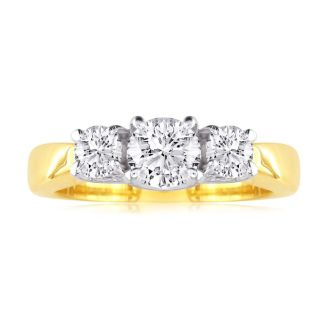 1/2ct Trellis Motif Three Diamond Ring in 14k Two Tone Gold