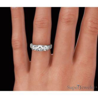 3/4ct Trellis Motif Three Diamond Ring in 14k White Gold