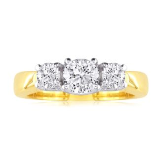3/4ct Trellis Motif Three Diamond Ring 14k Two Tone Gold