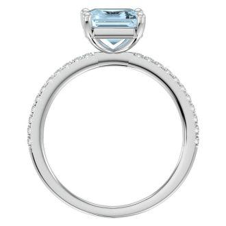 1 1/2 Carat Aquamarine and Diamond Ring In 14 Karat White Gold