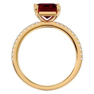 2 1/3 Carat Ruby and Diamond Ring In 14 Karat Yellow Gold