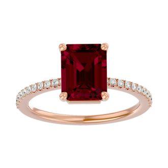 2 1/3 Carat Ruby and Diamond Ring In 14 Karat Rose Gold