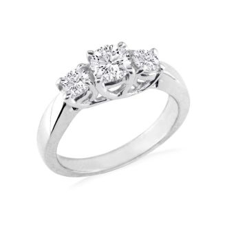 Very Fine 2ct Trellis Style Engagement Ring in 14k White Gold