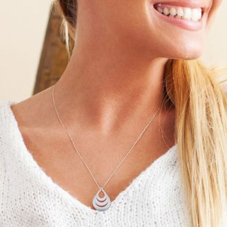 Sterling Silver Triple Teardrop Necklace With Free Custom Engraving, 18 Inches