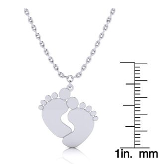 Sterling Silver Footprint Necklace With Free Custom Engraving, 18 Inches