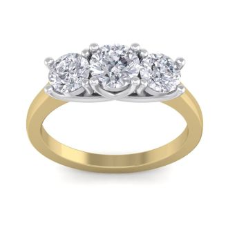 2 Carat Three Diamond Ring In 14 Karat Yellow Gold