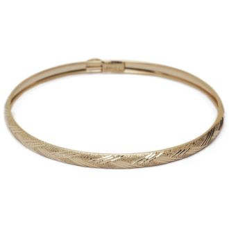 10K Yellow Gold Flexible Bangle Bracelet With Diamond Cut Design, 7 Inches