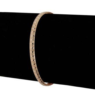 10K Yellow Gold Flexible Bangle Bracelet With Brush Design, 7 Inches
