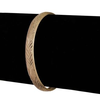 10K Yellow Gold Flexible Bangle Bracelet With Leaf Design, 7 Inches