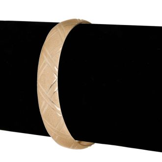 10K Yellow Gold Flexible Bangle Bracelet With Double X Diamond Cut Design, 7 Inches