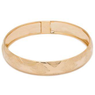 10K Yellow Gold Flexible Bangle Bracelet With High Polish Diamond Cut Design, 8 Inches
