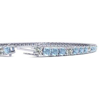 4 Carat Aquamarine And Diamond Graduated Tennis Bracelet In 14 Karat White Gold, 7 Inches