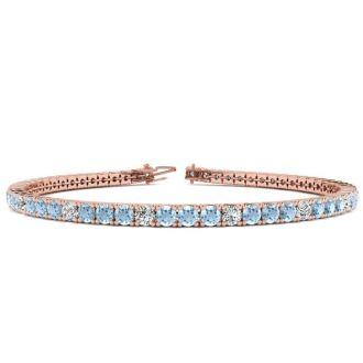 4 Carat Aquamarine And Diamond Graduated Tennis Bracelet In 14 Karat Rose Gold, 7 Inches