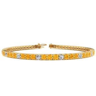 4 Carat Citrine And Diamond Graduated Tennis Bracelet In 14 Karat Yellow Gold, 7 Inches