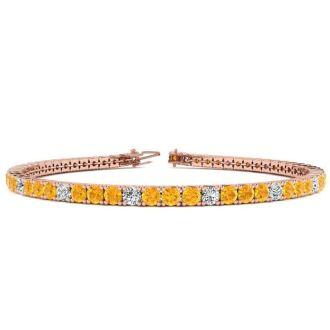 4 Carat Citrine And Diamond Graduated Tennis Bracelet In 14 Karat Rose Gold, 7 Inches
