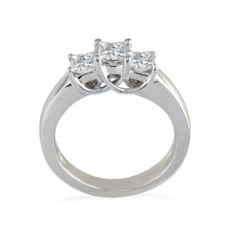 1ct Princess Three Diamond Ring in 14k White Gold