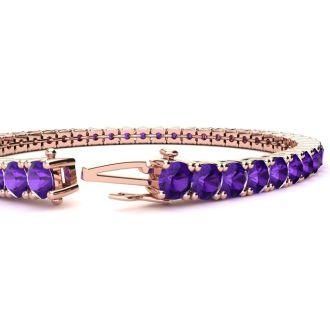 9 1/5 Carat Amethyst Tennis Bracelet In 14 Karat Rose Gold, 7 Inches