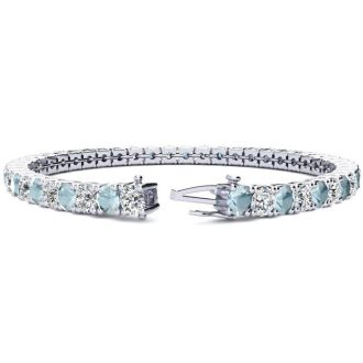 8 1/4 Carat Aquamarine and Diamond Tennis Bracelet In 14 Karat White Gold, 7 Inches