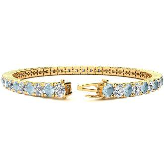 8 1/4 Carat Aquamarine and Diamond Tennis Bracelet In 14 Karat Yellow Gold, 7 Inches