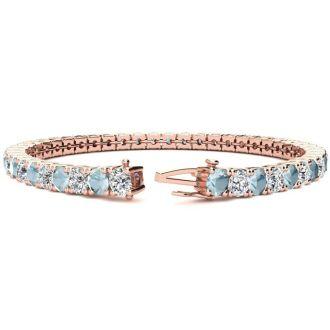 8 1/4 Carat Aquamarine and Diamond Tennis Bracelet In 14 Karat Rose Gold, 7 Inches