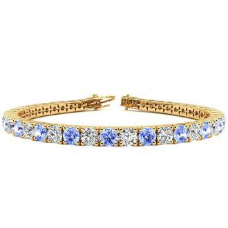 9 Carat Tanzanite and Diamond Tennis Bracelet In 14 Karat Yellow Gold, 7 Inches