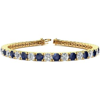 11 Carat Sapphire and Diamond Tennis Bracelet In 14 Karat Yellow Gold, 7 Inches